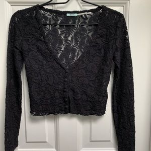Urban Outfitters Kimchi Blue Black Lace Crop Top